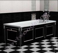 """Экран для ванны """"Руссильон PROVENCE раздвижной черный с серебром"""" с торцевой дверкой"""
