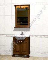 """Мебель в ванную из дерева """"Челси-2 УОРВИК-55 орех"""" с зеркалом"""