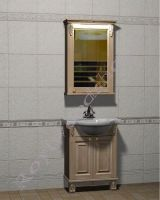 """Мебель в ванную из дерева """"Челси-2 УОРВИК-55 береза"""" с зеркалом-шкафом (правая ориентация)"""