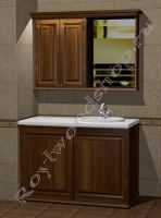 """Комплект в ванную со стиральной машиной """"Челси-2 КОМБИ-L орех"""" с зеркалом-шкафом"""