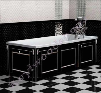 """Экран для ванны """"Руссильон PROVENCE раздвижной черный с серебром"""""""